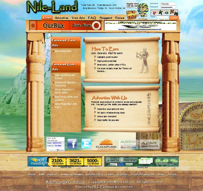 Nile-Land.com Website Design