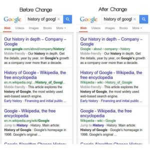 Google domain replacement: before and after the change.