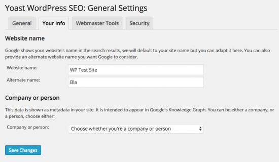 WordPress SEO by Yoast, website name input fields