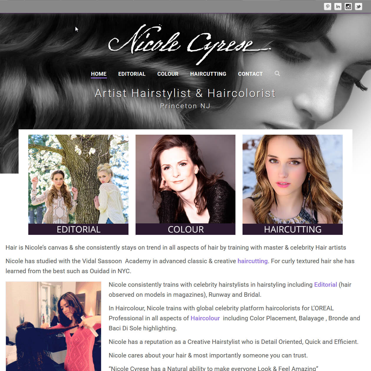 Website Redesign for Nicole Cyrese - Artist Hairstylist & Haircolorist