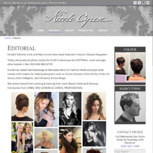 NicoleCyrese.com New Interior Page Example
